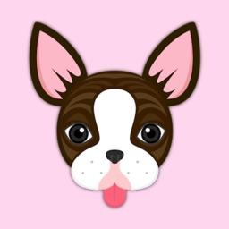 Brindle Boston Terrier Animated Emoji Stickers