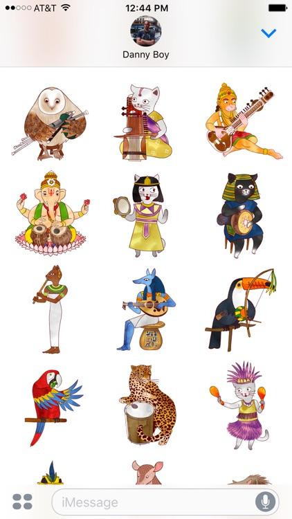 Jazzy Animal Musicians - World Music Stickers screenshot-3