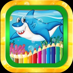 Shark tank and Sea animals coloring game for kid