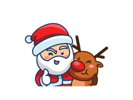 Animated Sticker Of Santa Claus And His Reindeer