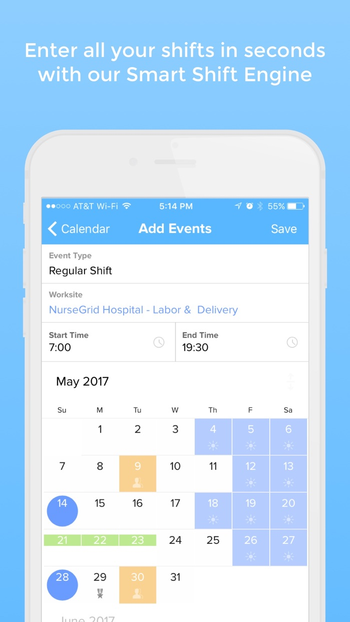 NurseGrid - calendar for nurses, by nurses Screenshot