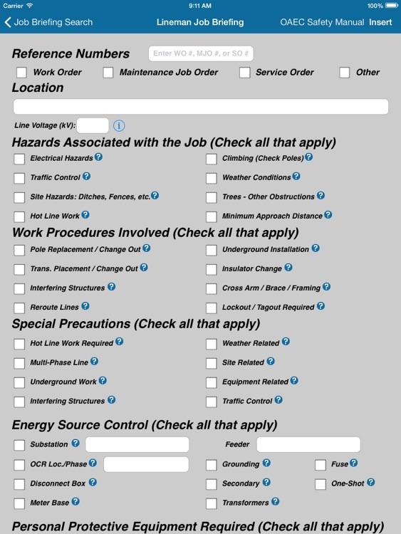 Lineman Job Briefing