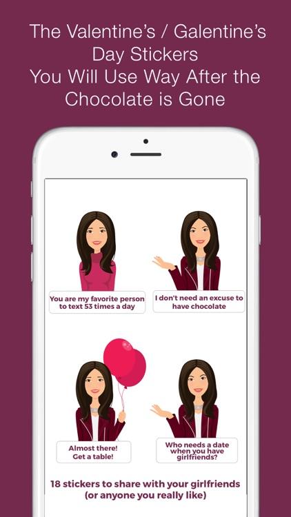 Valentine's/Galentine's Day girl-talk stickers (D)