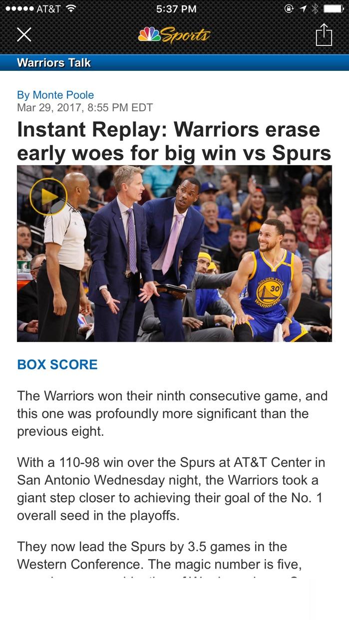 NBC Sports Bay Area / CA Screenshot