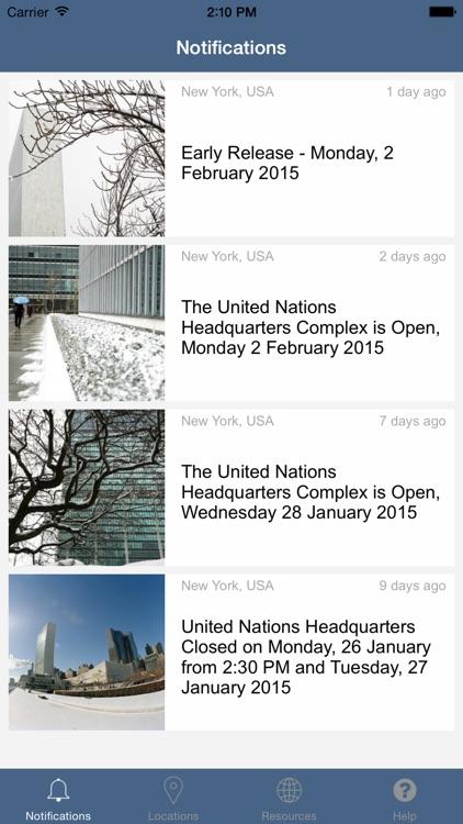 UN Emergency Notifications