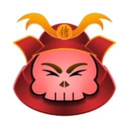 Animated Cute Samurai Skull  - 2 stickers