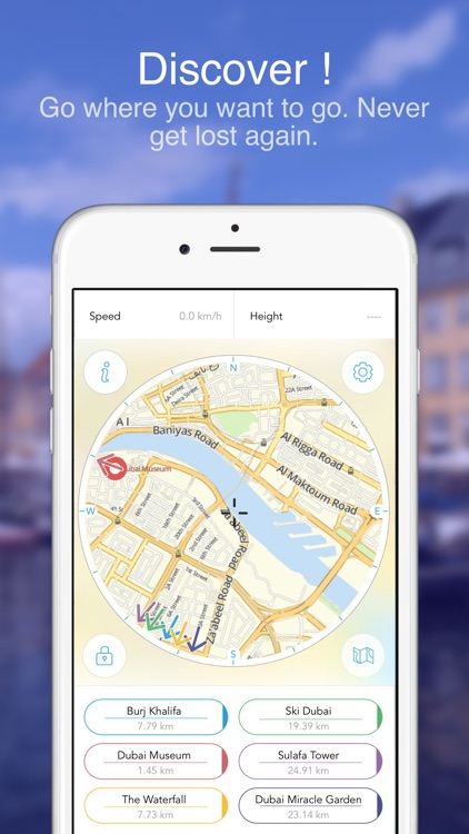 Dubai : Offline Map compass
