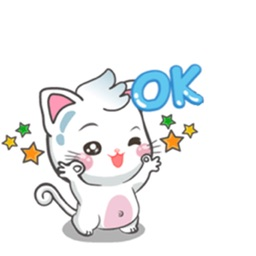 White Chubby Cat Sticker