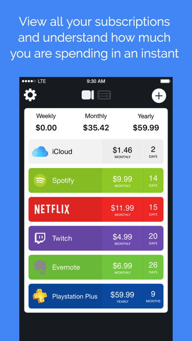 Outflow - Subscription Manager screenshot one