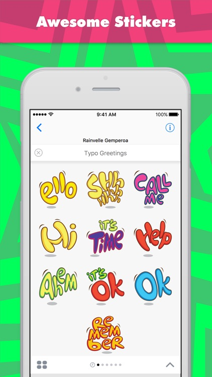 Typo Greetings stickers by rain