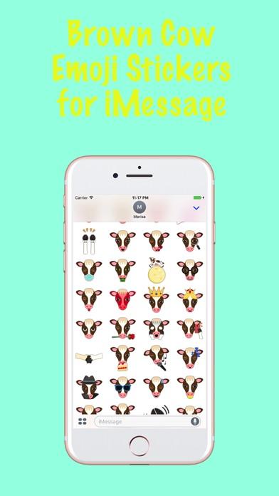 Brown White Cow Emoji Stickersのスクリーンショット1