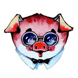 Watercolor Piggies