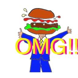 Happy Hamburger Head Sticker