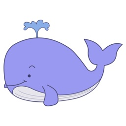Whale - Set of beautiful cute stickers