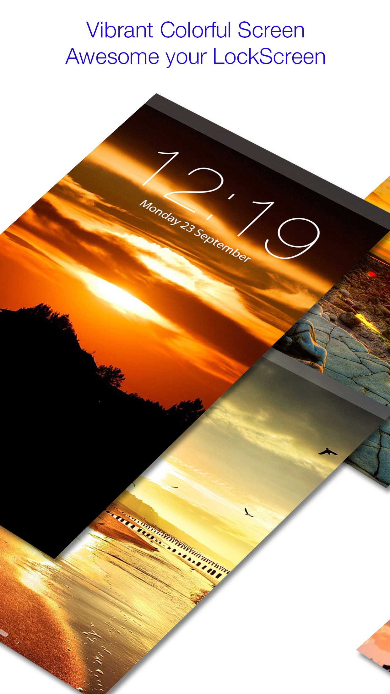 Amazing Sunset Lock Screen Backgrounds Color Theme Screenshot