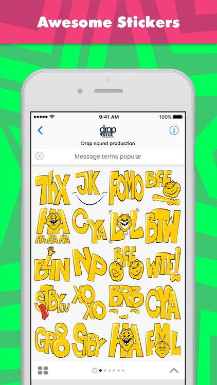 Message terms popular stickers by drop sound