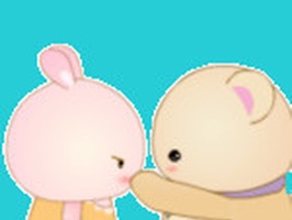 """Rabbit And Bear"" is animated stickers with images of rabbit and bear"
