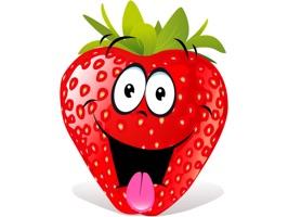 Stickers with sweet strawberries emoji