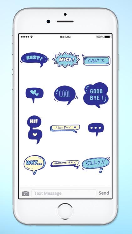 Blue Speech Bubble Words Text Sticker Pack screenshot-3
