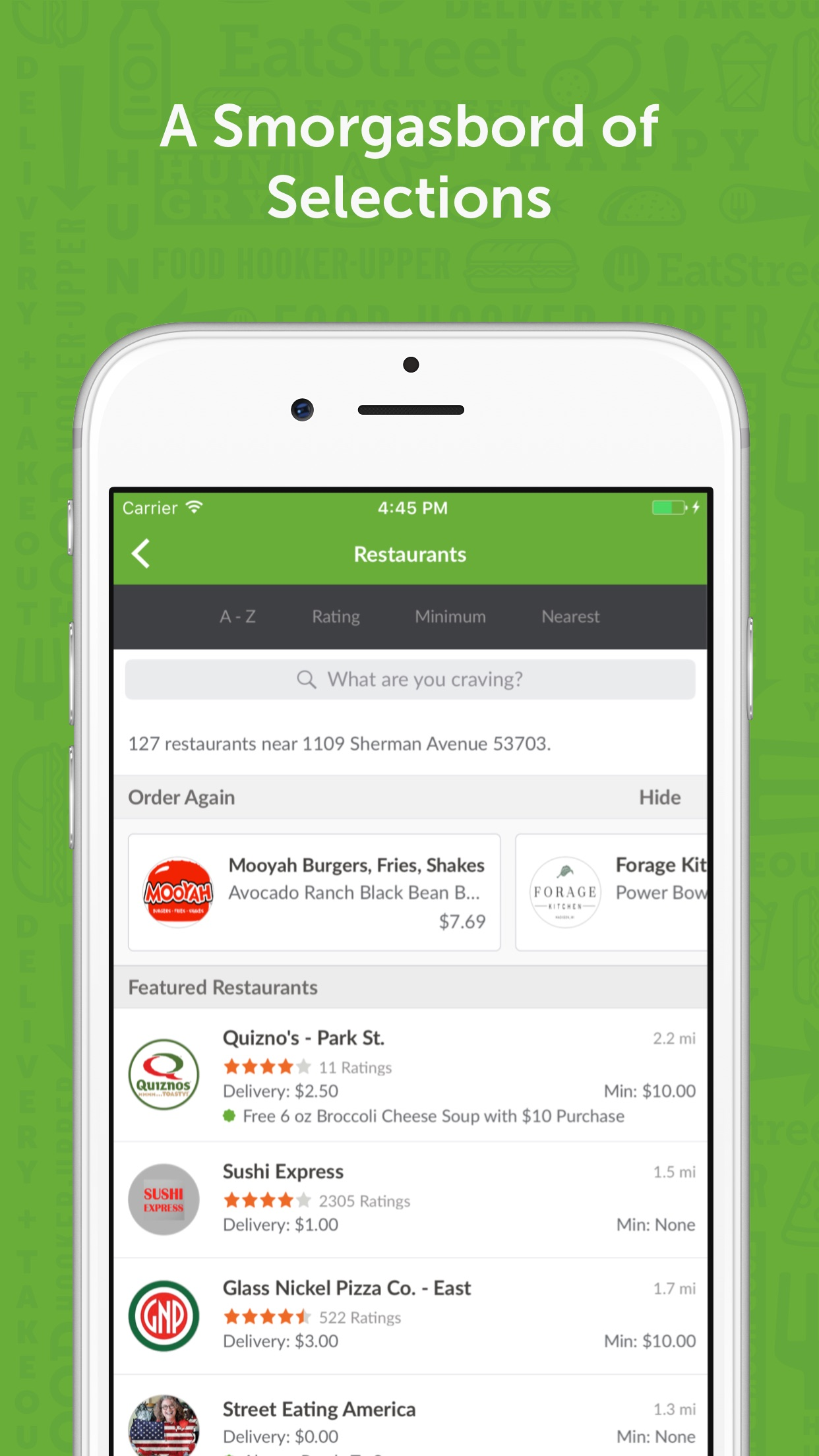 EatStreet Food Delivery & Take Out App Screenshot