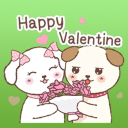 Couple Puppies On Valentine's Day Stickers!