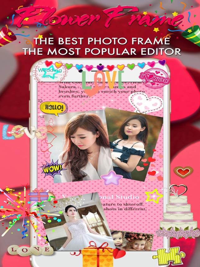 imagen flor cámara enmarca, rosas collage en App Store