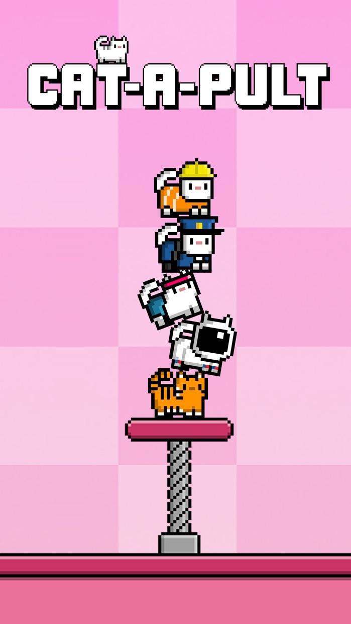 Cat-A-Pult: Endless stacking of 8-bit kittens Screenshot