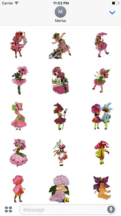 Vintage Pink Flower Child Stickers screenshot-4