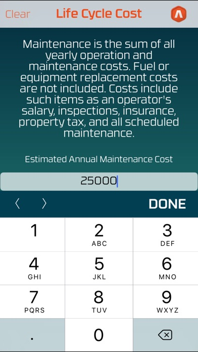 Life Cycle Cost Screenshots