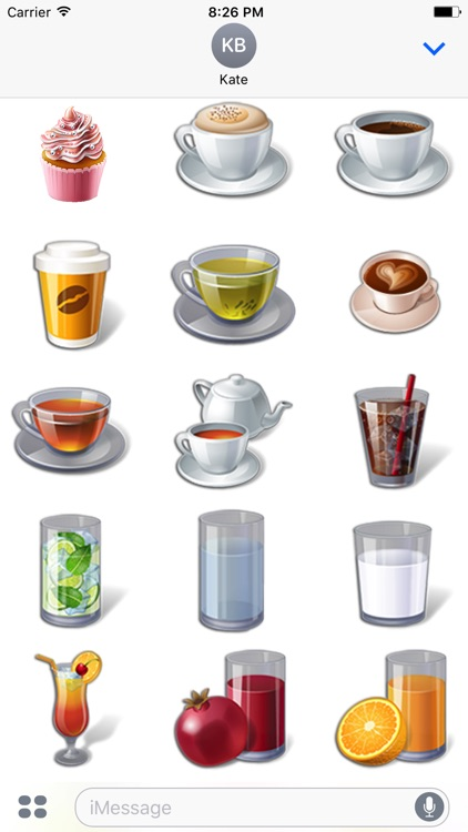 3D Coffee, Tea, Fruits - 200 Various Food Stickers