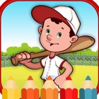 Sport baseball coloring  games for kids icon