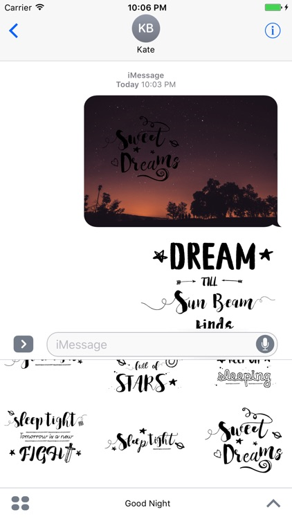 Good Night Typography Stickers for iMessage