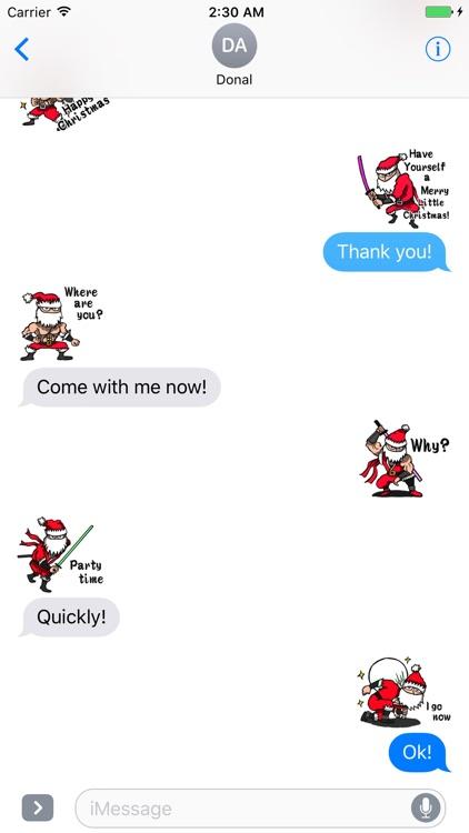 Stickers Of Funny Ninja Santa Claus