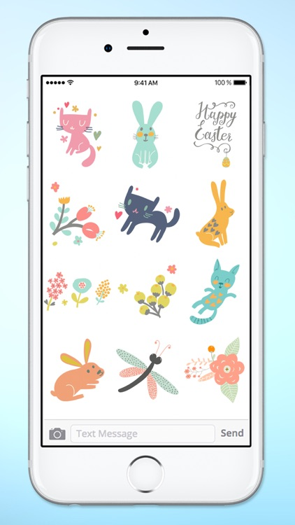 Spring and Easter Cats and Bunnies Sticker Pack screenshot-4