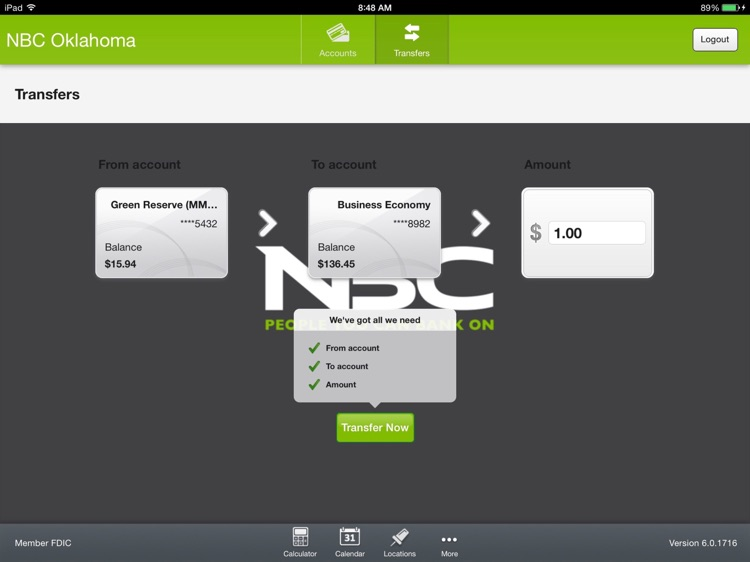 NBC Oklahoma Banking App for iPad screenshot-3