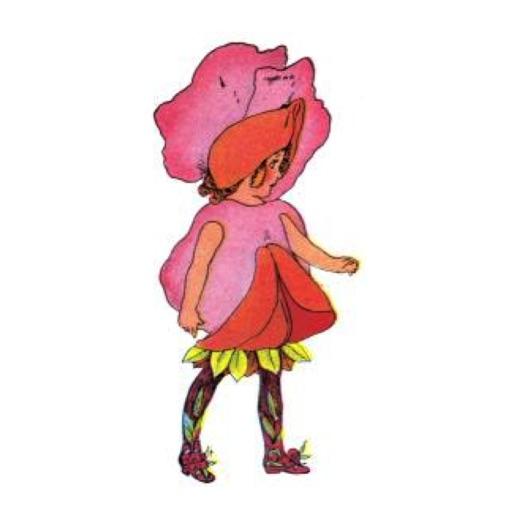 Vintage Pink Flower Child Stickers