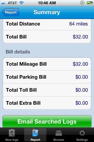 Screenshot of Milog - mileage log tracker