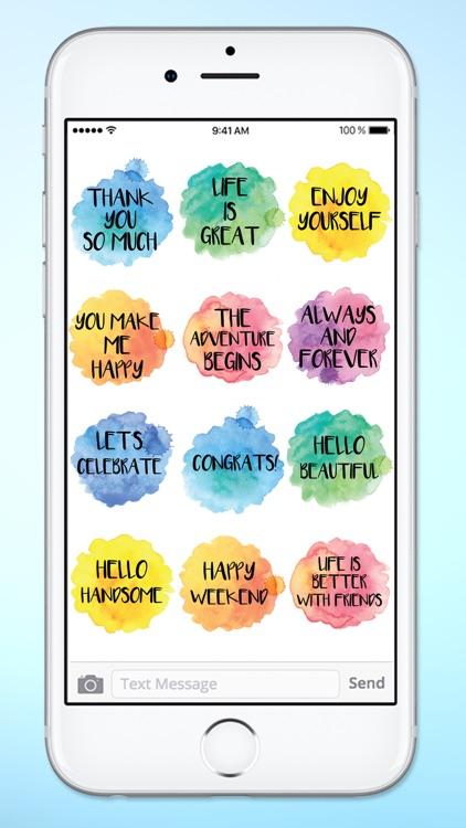Positive Messages Watercolor Sticker Pack screenshot-3