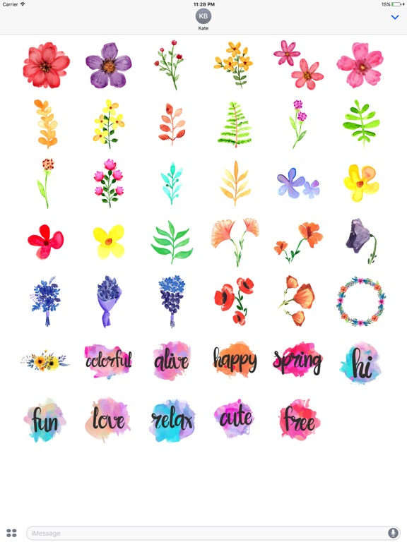 Watercolor Spring Flowers Stickers App Price Drops