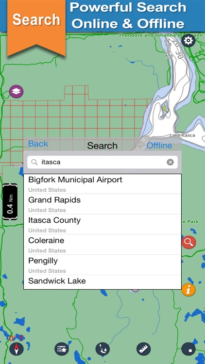Itasca offline GPS chart for lake and park trails screenshot-3