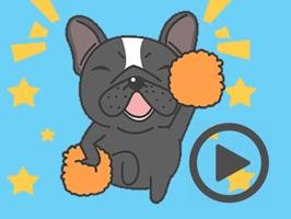 Funny Black Bulldog Animated