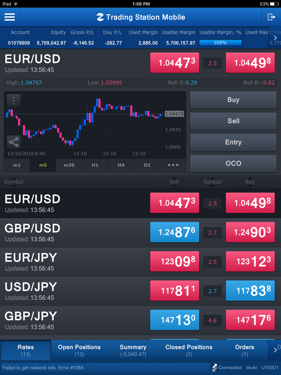 FXCM Trading Station for iPad screenshot one