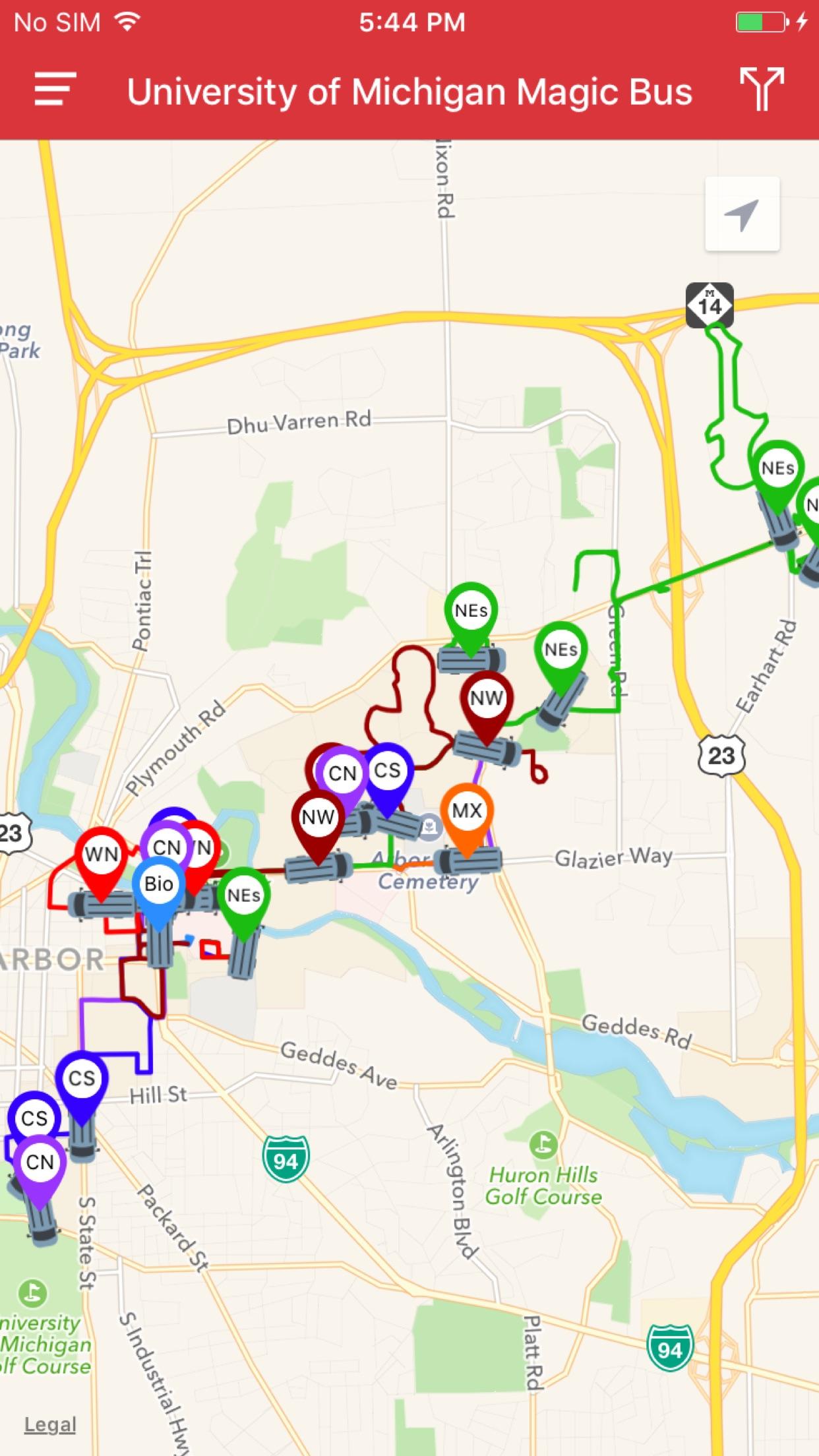 DoubleMap Bus Tracker Screenshot