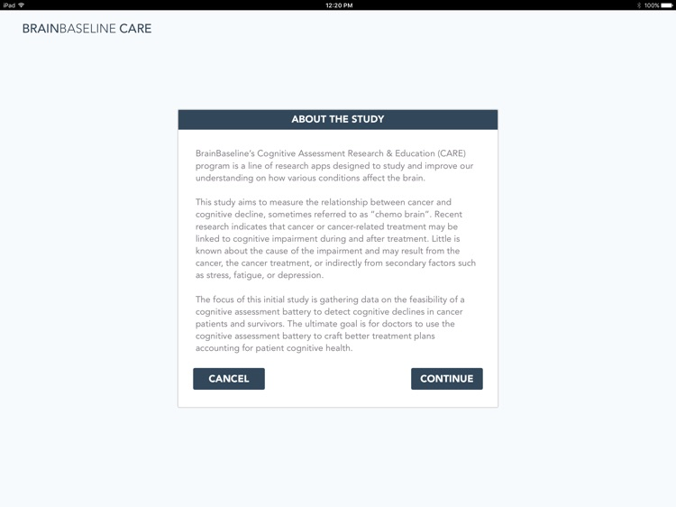 BrainBaseline CARE: Cancer & Brain Health Study