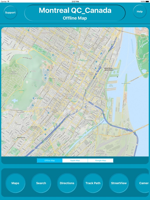 Montreal QC Canada Offline City Maps Navigation iPad