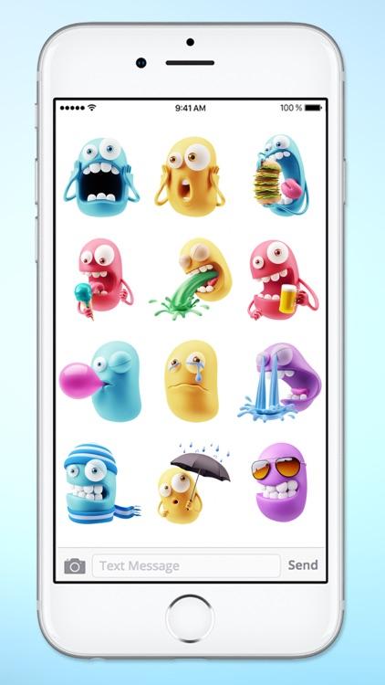 Silly 3D Monster Emojis Sticker Pack screenshot-4