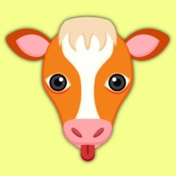 Orange White Cow Mascot Stickers