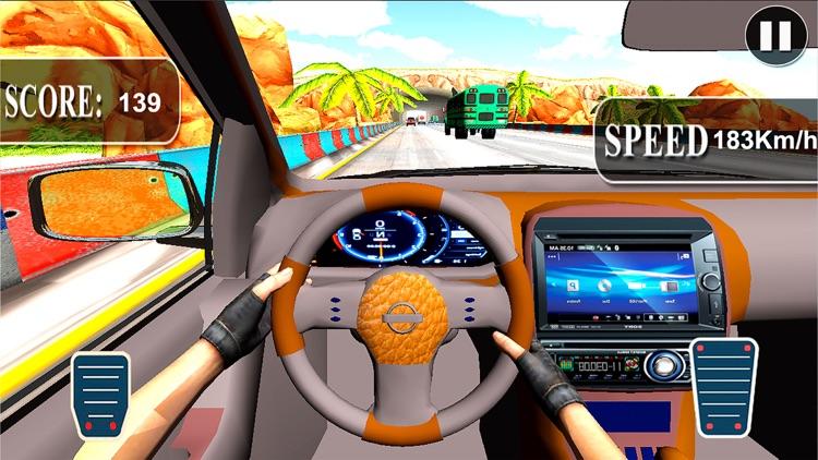 Fast Race In Car : A City Traffic Drive