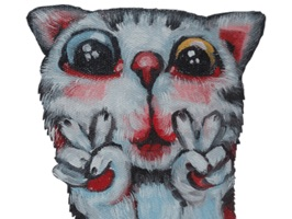 Freaky Two Eye Colors The Cat Stickers