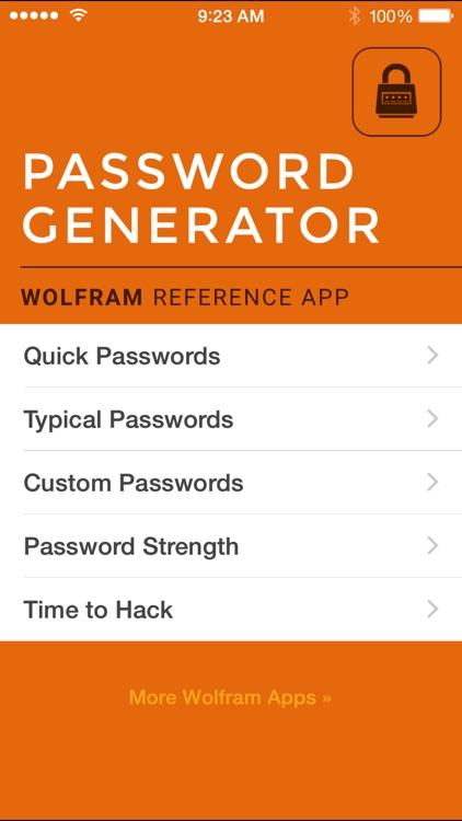 Wolfram Password Generator Reference App